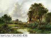 Thors Joseph - View near Leamington - British School - 19th Century. Стоковое фото, фотограф Artepics / age Fotostock / Фотобанк Лори