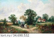 Turner George - a Derbyshire Lane 2 - British School - 19th Century. Стоковое фото, фотограф Artepics / age Fotostock / Фотобанк Лори