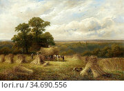 Turner George - a Harvest Field Barrow-on-Trent - British School - ... Стоковое фото, фотограф Artepics / age Fotostock / Фотобанк Лори