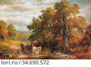 Turner George - Fording the Brook - British School - 19th Century. Стоковое фото, фотограф Artepics / age Fotostock / Фотобанк Лори