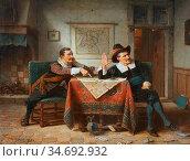 Webb Charles Meer - the Card Players - British School - 19th Century. Редакционное фото, фотограф Artepics / age Fotostock / Фотобанк Лори