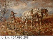 Wheelwright Rowland - Plough Team - British School - 19th Century. Редакционное фото, фотограф Artepics / age Fotostock / Фотобанк Лори