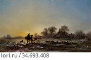 Williams George Augustus - Sunset over a Winter Landscape - British... Редакционное фото, фотограф Artepics / age Fotostock / Фотобанк Лори