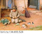 Wilson Charles Edward - Feeding the Pets - British School - 19th ... Редакционное фото, фотограф Artepics / age Fotostock / Фотобанк Лори