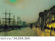 Grimshaw John Atkinson - Canny Glasgow - British School - 19th Century... Редакционное фото, фотограф Artepics / age Fotostock / Фотобанк Лори