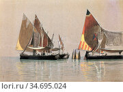 Haseltine William Stanley - Italian Boats Venice - British School... Редакционное фото, фотограф Artepics / age Fotostock / Фотобанк Лори