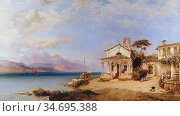 Hering George Edwards - Morning in Italy on the Lago Maggiore - British... Редакционное фото, фотограф Artepics / age Fotostock / Фотобанк Лори