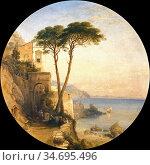 Hering George Edwards - the Coast of Amalfi - British School - 19th... Редакционное фото, фотограф Artepics / age Fotostock / Фотобанк Лори