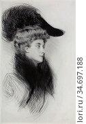 Helleu Paul - Femme Au Chapeau 3 - French School - 19th Century. Редакционное фото, фотограф Artepics / age Fotostock / Фотобанк Лори