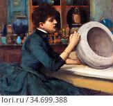 Lavery Sir John - Glasgow International Exhibition 1888 - Woman Painting... Редакционное фото, фотограф Artepics / age Fotostock / Фотобанк Лори