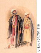 Lewis John Frederick - Sheik Hussein of Gebel Tor and His Son - British... Редакционное фото, фотограф Artepics / age Fotostock / Фотобанк Лори