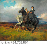 Kemp-Welch Lucy Elizabeth - the Riders - British School - 19th Century... Редакционное фото, фотограф Artepics / age Fotostock / Фотобанк Лори