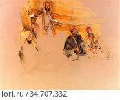 Lewis John Frederick - a Bedouin Encampment Mount Sinai - British... Редакционное фото, фотограф Artepics / age Fotostock / Фотобанк Лори