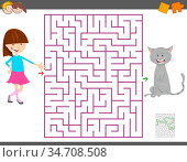 Cartoon Illustration of Education Maze or Labyrinth Activity Game... Стоковое фото, фотограф Zoonar.com/Igor Zakowski / easy Fotostock / Фотобанк Лори