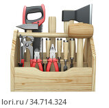 A wooden toolbox containing with ax, chisel, pliers, mallet, hammer, screwdriver, wrench, saw and wire cutters. Стоковая иллюстрация, иллюстратор Маринченко Александр / Фотобанк Лори