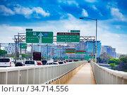 Jam on Rochambeau Memorial Bridge in Washington (2018 год). Стоковое фото, фотограф Сергей Новиков / Фотобанк Лори