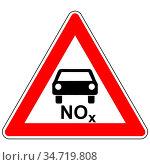 NOx Auto und Achtung Schild - NOx car and attention sign. Стоковое фото, фотограф Zoonar.com/Robert Biedermann / easy Fotostock / Фотобанк Лори