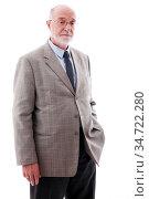 Portrait of senior business man isolated on white background. Стоковое фото, фотограф Zoonar.com/Tatiana Badaeva / easy Fotostock / Фотобанк Лори