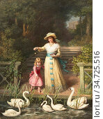 Morris Phillip Richard - Feeding the Swans - British School - 19th... Редакционное фото, фотограф Artepics / age Fotostock / Фотобанк Лори