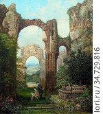 Rayner Samuel - Artist and Spectator in a Ruin - British School - ... Редакционное фото, фотограф Artepics / age Fotostock / Фотобанк Лори