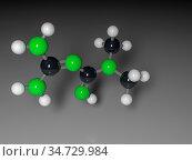 Metforminmolekül, schwarz=Kohlenstoff, grün=Stickstoff, weiß=Wasserstoff... Стоковое фото, фотограф Zoonar.com/Dr. Baumgärtner, 2019 / easy Fotostock / Фотобанк Лори
