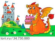 Dragon holding cake theme image 5 - picture illustration. Стоковое фото, фотограф Zoonar.com/Klara Viskova / easy Fotostock / Фотобанк Лори
