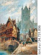 Rooke Thomas Matthews - Rouen - British School - 19th Century. Редакционное фото, фотограф Artepics / age Fotostock / Фотобанк Лори