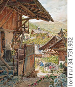 Rooke, thomas matthews - Sallanches, Hautes Savoie with the Aiguille... Редакционное фото, фотограф Artepics / age Fotostock / Фотобанк Лори