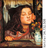 Rossetti Dante Gabriel - Girl at a Lattice - British School - 19th... Редакционное фото, фотограф Artepics / age Fotostock / Фотобанк Лори