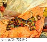 Rochegrosse Georges Antoine - a Portrait of Sarah Bernhardt 1 (Reclining... Стоковое фото, фотограф Artepics / age Fotostock / Фотобанк Лори