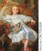 Salisbury Frank Owen - Portrait of a Young Girl in a White Dress ... Редакционное фото, фотограф Artepics / age Fotostock / Фотобанк Лори
