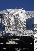 Massif du Mont-Blanc. Le Mont-Blanc plus haut sommet d'Europe 4810... Стоковое фото, фотограф Pascal Deloche / Godong / age Fotostock / Фотобанк Лори