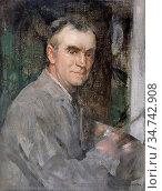 Walton Edward Arthur - Self Portrait - British School - 19th Century. Редакционное фото, фотограф Artepics / age Fotostock / Фотобанк Лори