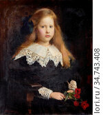 Watson George Spencer - Portrait of a Young Girl Holding Red Tulips... Редакционное фото, фотограф Artepics / age Fotostock / Фотобанк Лори