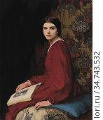 Watson George Spencer - Portrait of Betty Mccann in a Red Dress - ... Редакционное фото, фотограф Artepics / age Fotostock / Фотобанк Лори