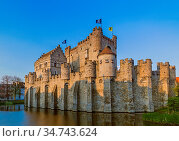 Gravensteen castle in Gent - Belgium - architecture background. Стоковое фото, фотограф Zoonar.com/Nikolai Sorokin / easy Fotostock / Фотобанк Лори