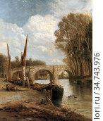 Webb James - Kew Bridge on the Thames - British School - 19th Century. Редакционное фото, фотограф Artepics / age Fotostock / Фотобанк Лори