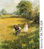 Wheelwright Rowland - Picking Flowers - British School - 19th Century. Редакционное фото, фотограф Artepics / age Fotostock / Фотобанк Лори