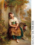 Williams Penry - by the Well - British School - 19th Century. Редакционное фото, фотограф Artepics / age Fotostock / Фотобанк Лори