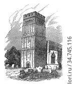 Tower of Earls Barton, Northamptonshire, vintage engraved illustration... Стоковое фото, фотограф Zoonar.com/Patrick Guenette / easy Fotostock / Фотобанк Лори