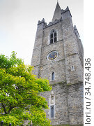 Exterior view of St Patrick's Cathedral. St Patrick's cathedral church is a national church of Republic of Ireland. Saint Patrick's Day (2019 год). Стоковое фото, фотограф Nataliia Zhekova / Фотобанк Лори