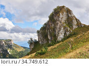 Limestone cliff in the background of a spacious wooded mountain valley. Стоковое фото, фотограф Евгений Харитонов / Фотобанк Лори