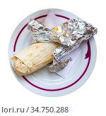 Shawarma with chopped vegetables and greens. Стоковое фото, фотограф Яков Филимонов / Фотобанк Лори