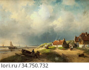 Leickert Charles Henri Joseph - a Dune Landscape with a Fishing Village... Стоковое фото, фотограф Artepics / age Fotostock / Фотобанк Лори
