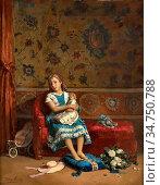 Meerts Frans - Meisje Met Haar Pop - Belgian School - 19th Century. Стоковое фото, фотограф Artepics / age Fotostock / Фотобанк Лори