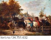 Moerenhout Joseph Jodocus - Jaarmarkt Met Paarden - Belgian School... (2020 год). Редакционное фото, фотограф Artepics / age Fotostock / Фотобанк Лори