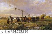 Lotz Károly - Watering - Hungarian School - 19th Century. Стоковое фото, фотограф Artepics / age Fotostock / Фотобанк Лори