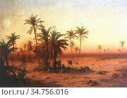 Ligeti Antal - Oasis in the Desert - Hungarian School - 19th Century. Стоковое фото, фотограф Artepics / age Fotostock / Фотобанк Лори