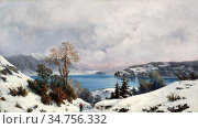 Loppé Gabriel - Lac D 'annecy En Hiver 1 - French School - 19th and... Редакционное фото, фотограф Artepics / age Fotostock / Фотобанк Лори