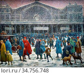 Luce Maximilien - the Gare De L 'est in Snow - French School - 19th... Редакционное фото, фотограф Artepics / age Fotostock / Фотобанк Лори